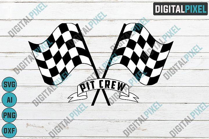 Pit Crew SVG PNG DXF Circut Cut Silhouette 3 Race Flag Svg