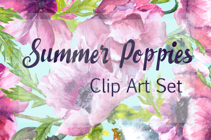 Watercolor Summer Poppies Clip Art - Bonus Wreath and Border