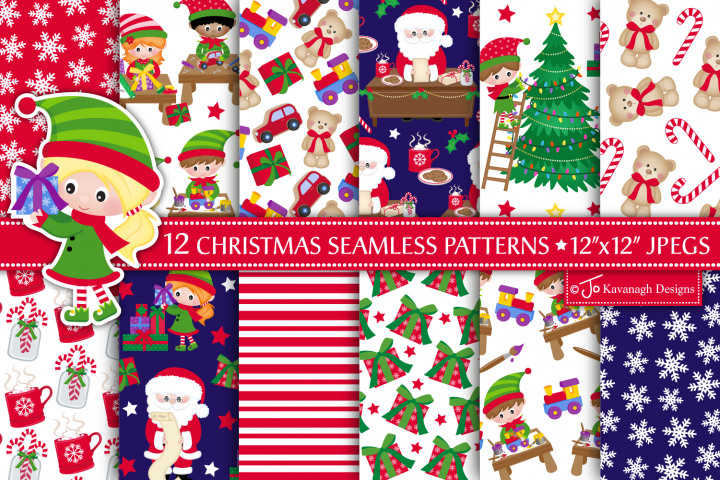 Christmas Digital Papers, Christmas Seamless Patterns -P46