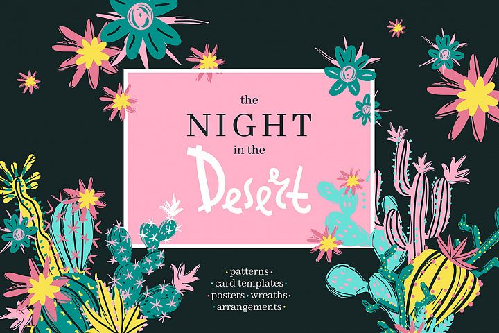 The Night in the Desert. Cactus clipart collection.