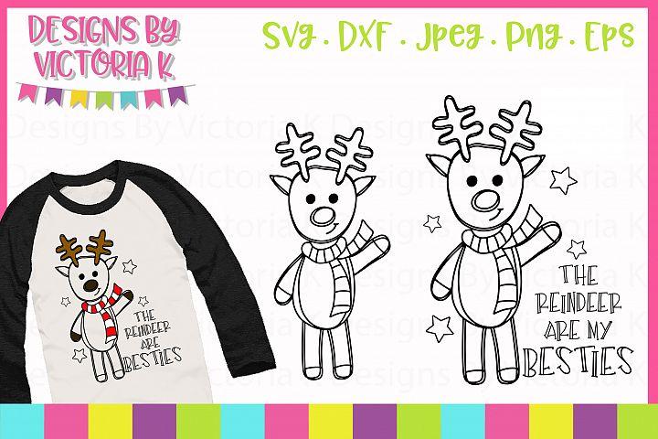 Reindeer Doodles, Christmas, SVG, DXF, PNG