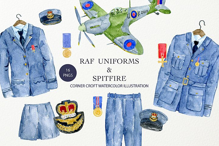 Watercolor Illustration of RAF Uniforms and Spitfire Fighter