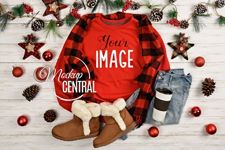 Christmas Red Sweatshirt Mockup, Shirt Mock Up JPG