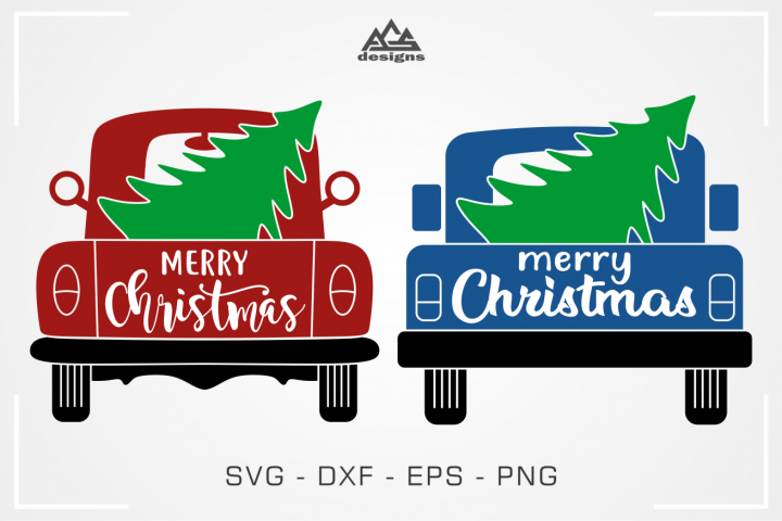 Truck Back Christmas Tree Svg Design
