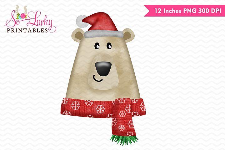 Christmas Polar Bear watercolor printable sublimation design