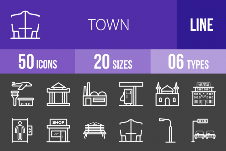 50 Town Line Inverted Icons