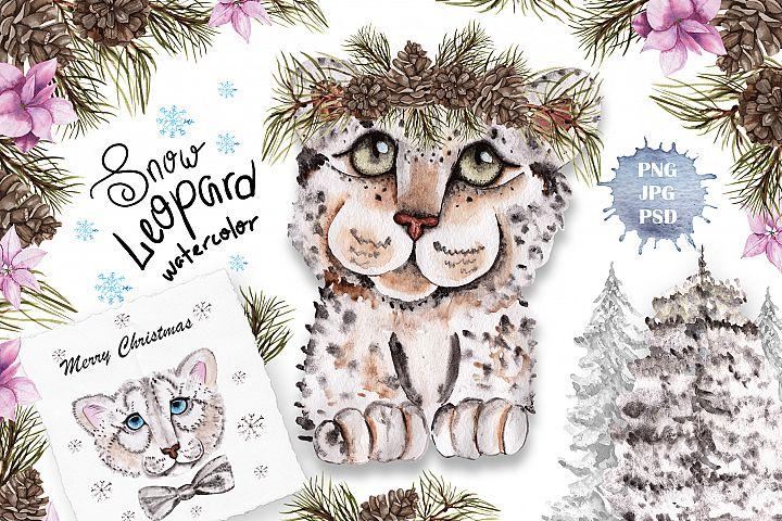 Snow Leopard Watercolor Set