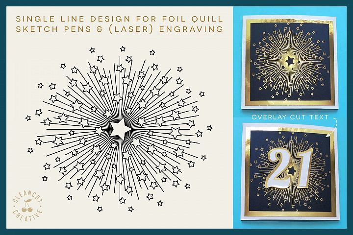 Foil Quill STARBURST single line sketch design SVG file