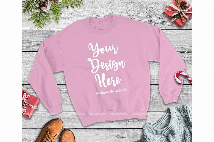 Christmas Winter Light Pink Unisex Sweatshirt Mock Up