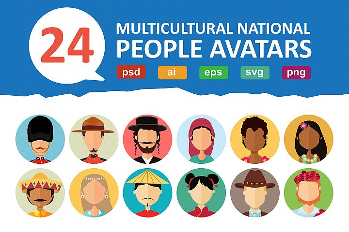 24 Avatars people national flat