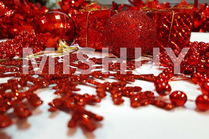 Red Christmas Ornaments Background1