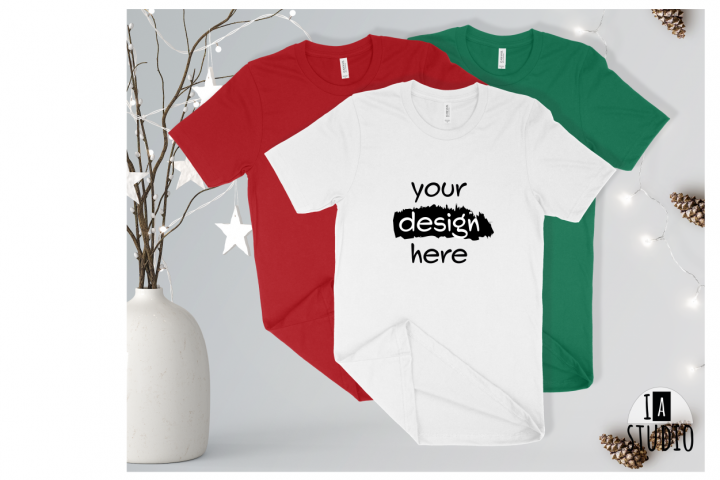 Christmas White Tshirt Mockup / Bella Canvas 3001 Mockup