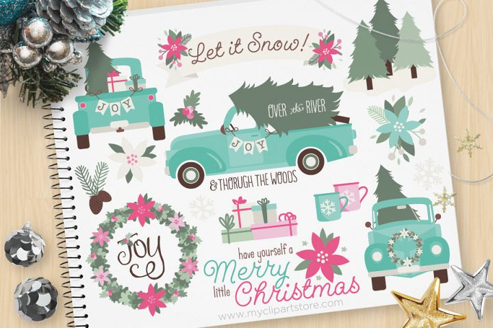 Vintage Blue Christmas Truck Clipart - Vector Clip Art & SVG