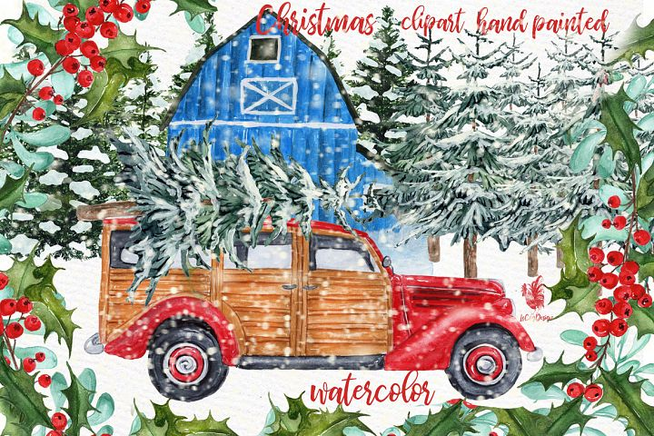 Watercolor Christmas Vintage Car Clipart,Christmas clipart