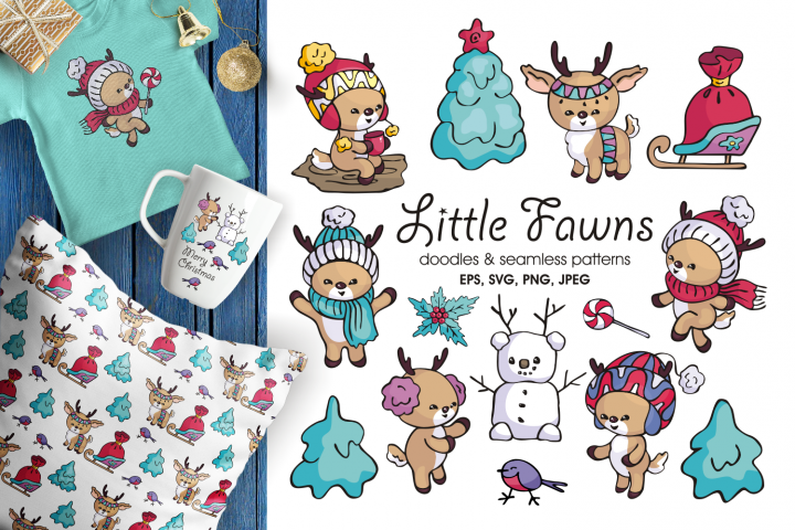 Little fawns. Christmas doodles and seamless patterns
