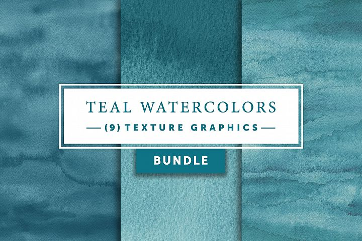 Teal Watercolors Bundle | Texture Graphics