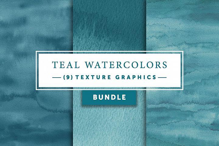 Teal Watercolors Bundle | Texture Graphics