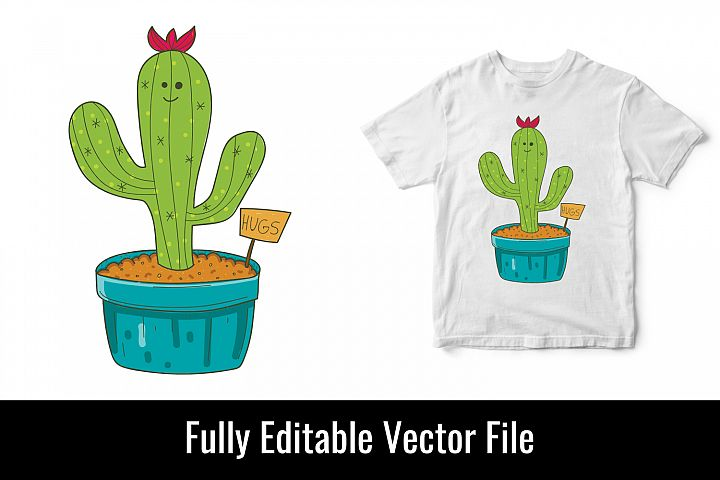 Hugs funny cactus love hug vector t shirt design