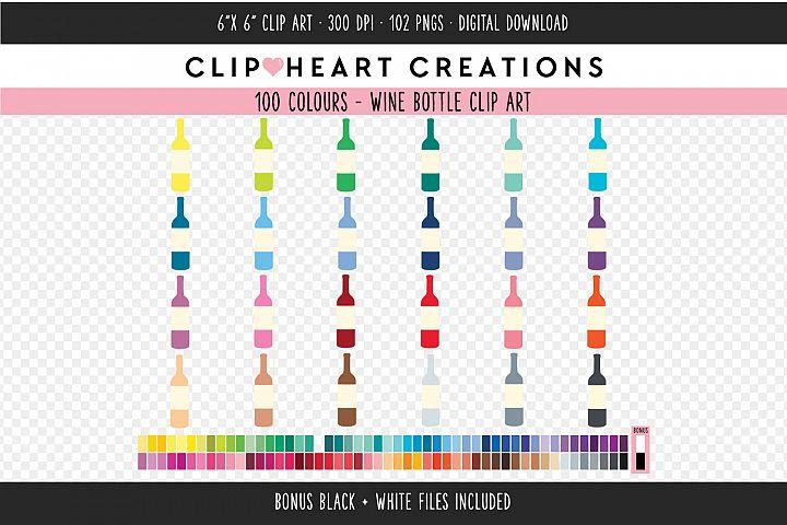 Wine Bottle Clipart - 100 Colours