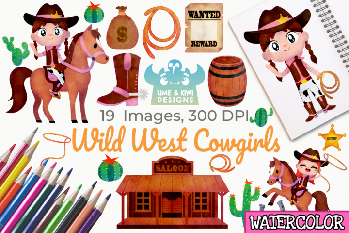 Wild West Cowgirls Watercolor Clipart, Instant Download