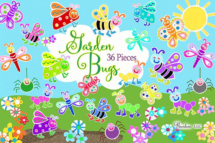 Watercolor Bugs Clipart, Garden Bugs, Bee, Ladybug