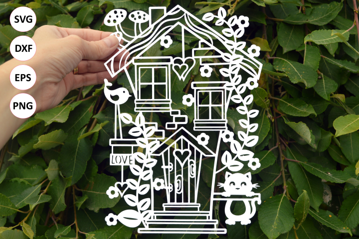 Fairy tail home paper cut SVG / DXF / EPS files
