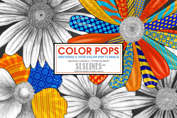 Vivid Pop Color Flowers Clipart Set