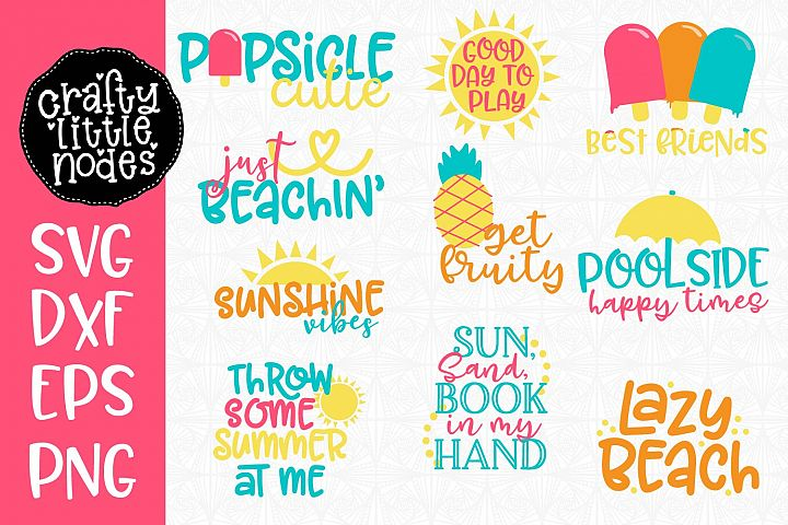 Summer Svg Cut File Mini Bundle - 10 Fun Summer Designs!