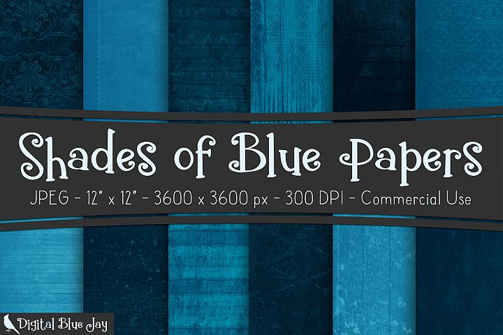12 Digital Paper Textured Backgrounds - Shades of Blue