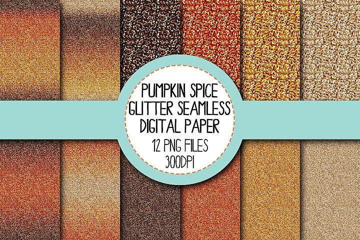 Pumpkin Spice Glitter Seamless Digital Papers Set 1