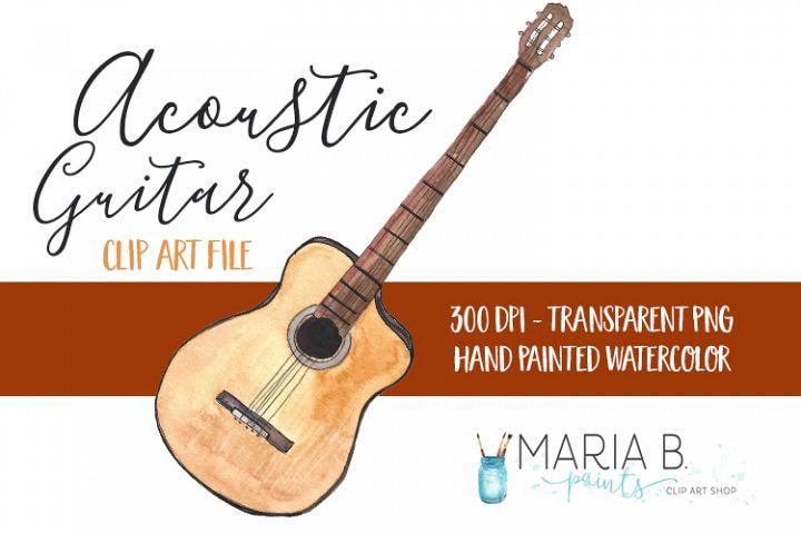 Acoustic Guitar Watercolor Clip Art PNG