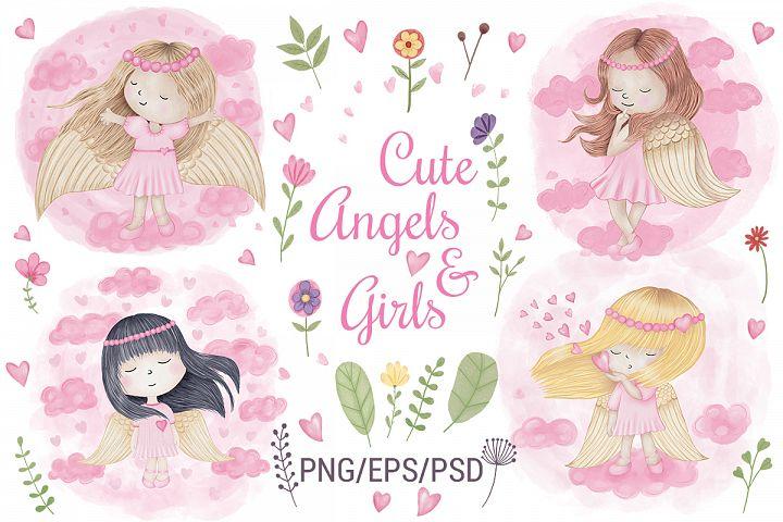 Illustrations of Angel. Girl. Heart. Love. Baby