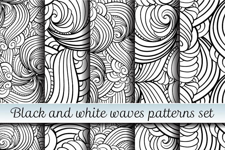 Black and white waves patterns set
