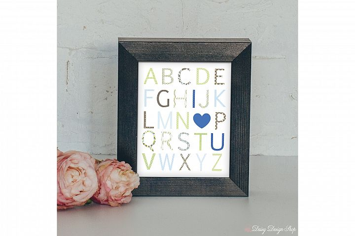 Art Print - Alphabet I Love You - Brown Blue and Green - Nursery or Home 8x10 Printable