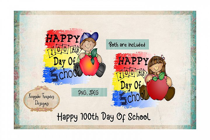 Happy 100th Day Of School Boy and Girl