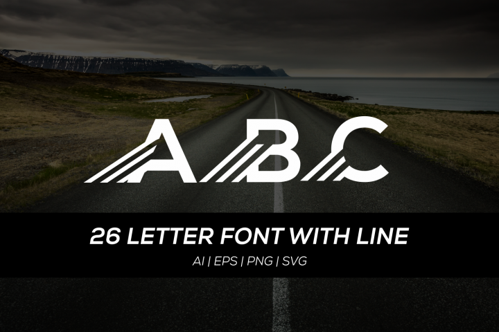 26 letter font with fast line
