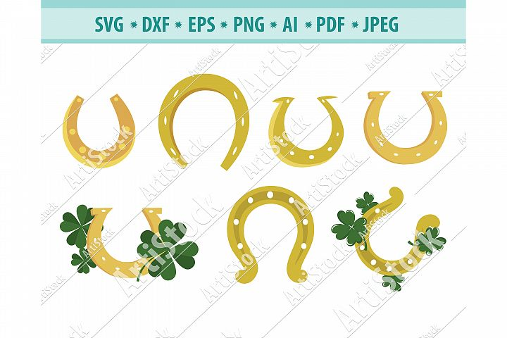 Horseshoe svg, Horseshoe and clover png, Clover Dxf, Eps