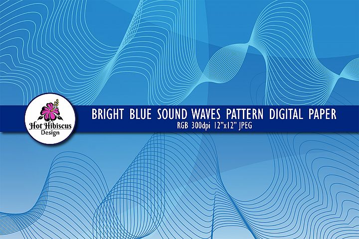 Blue Sound Waves Modern Abstract Background Digital Paper