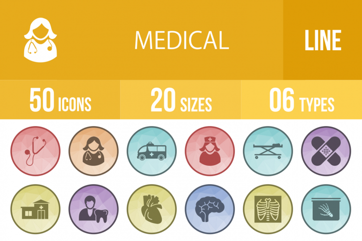 50 Medical Filled Low Poly Icons