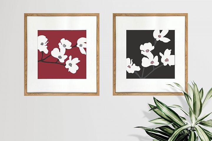 Japanese Flower Digital Prints - Red and Black Set