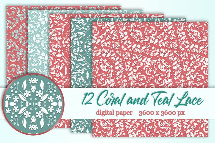12 Coral Teal wedding lace digital paper Background