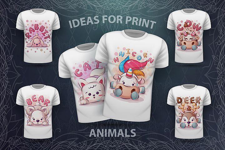 Set cute animals - for print t-shirt