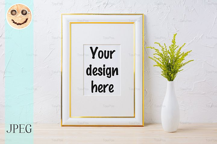 Gold decorated frame mockup with ornamental grass