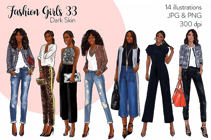 Fashion illustration clipart - Fashion Girls 33 - Dark Skin