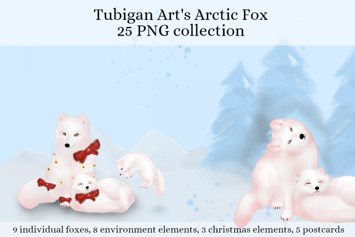 Arctic Fox for the holidays / Free Post cards