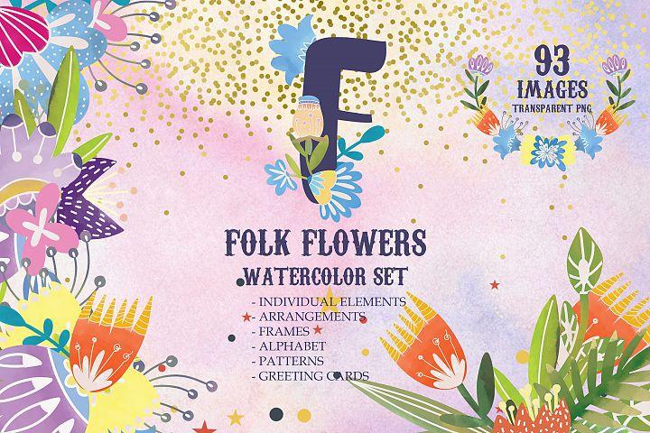 Watercolor folk flowers summer set of frames, elements, card