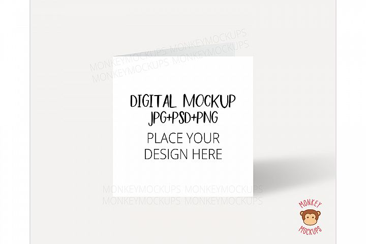 Square Card Mockup - JPG PNG PSD Smart Object