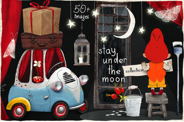 Stay under the moon Graphic Set