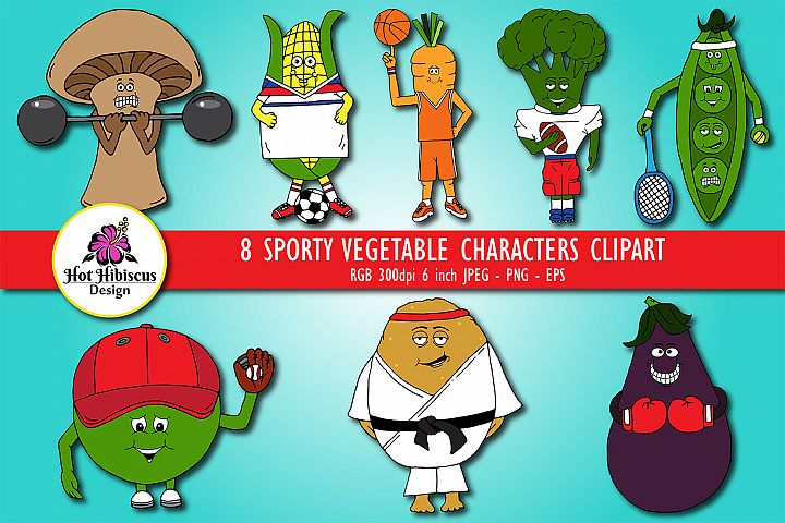 Vegetable Sports Cartoon Characters Clipart
