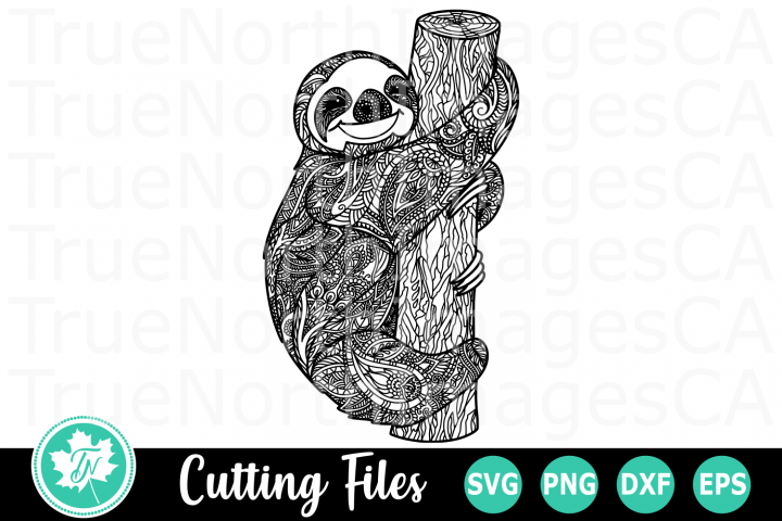 Zentangle Sloth - A Christmas SVG Cut File